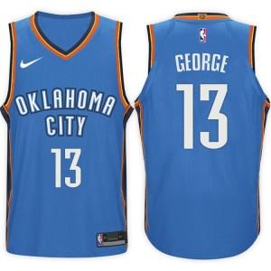 2017-18 saison Paul George Oklahoma City Thunder 13 Icône Bleu maillots