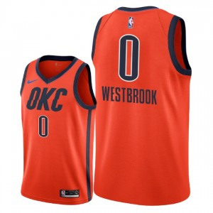 Oklahoma City Thunder # 0 Maillot Russell Westbrook - Swingman - Orange